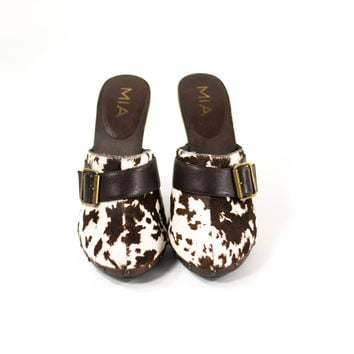 Clogs Cow Hair Fur Animal Print Wood Platform Leather Wedge Mules Womens Size 10