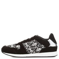 Black/White Ikat Print Lace-Up Sneakers by Charlotte Russe