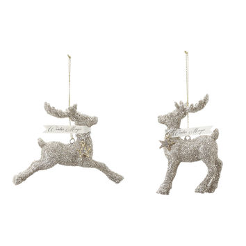 Set of 2 Glittered Reindeer Ornaments from A Gilded Life