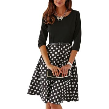 Vintage Belted Knee Length Polka Dot Jewel Neck Dress