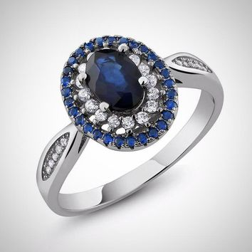 Natural Sapphire Blue Oval Sterling Silver Ring