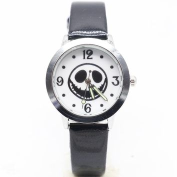 2017 New Arrival Top sales The Nightmare Before Christmas Jack Skull Skeleton Quartz Watch Mens Lady kids Halloween Gifts