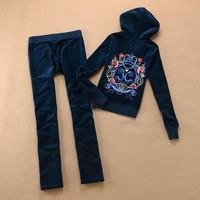 Juicy Couture Crown Logo Flowers Velour Tracksuit 6019 2pcs Women Suits Navy