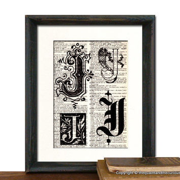 Letter J Personalized Monogrammed Initials Art by QuaintandCurious