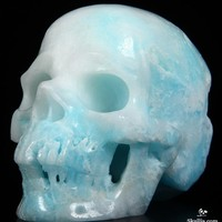 "Huge 5.3"" Blue Aragonite Carved Crystal Skull, Super Realistic"