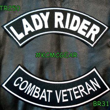 Military Biker Patch Set Lady Rider Combat Veteran Embroidered Patches Sew on Patches for Jackets