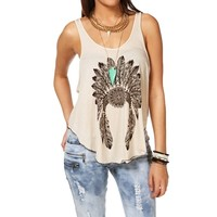 Taupe Chief Headdress Tank Top