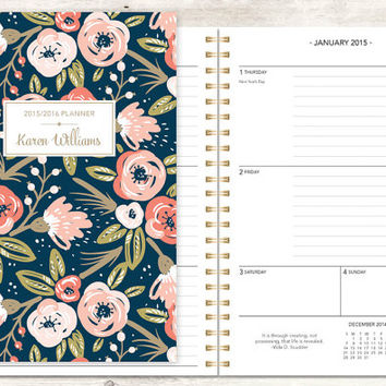 2015 planner | 2015-2016 calendar | custom weekly student planner | personalized planner agenda daytimer | pink navy gold floral pattern