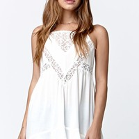 LA Hearts Lace Inset Tunic Tank Top - Womens Shirts