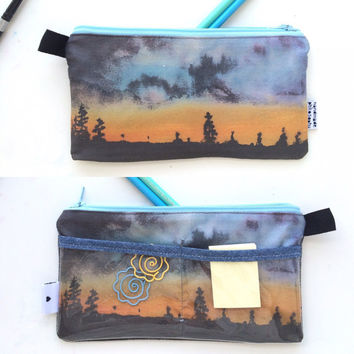 Sunset Divided Pencil Case with pockets (handmade philosophy's painting)