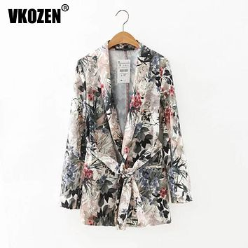 Women Vintage  Floral Leaf Print  Ethnic Slim Blazer Suits Casual Long Sleeve Notched Sashes Coat Tops With Belt YN-4324
