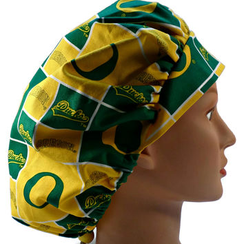 Women's Bouffant, Pixie, or Ponytail Surgical Scrub Hat Cap in Oregon Ducks