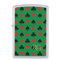Poker Suits on Green with Initials Zippo Lighter
