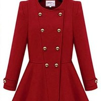 New Women Long Sleeve Double-breasted Cashmere Autumn Skater Trench Coat Jacket (S, Red)