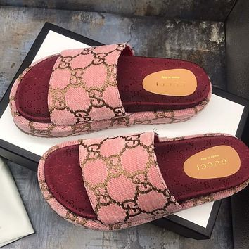 GUCCI new ladies double G embroidered platform casual slippers pink high quality