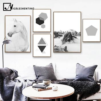 Scandinavian Style Horse Mountain Wall Art canvas Poster Nordic Landscape Print Geometry Abstract Painting Decorative Picture