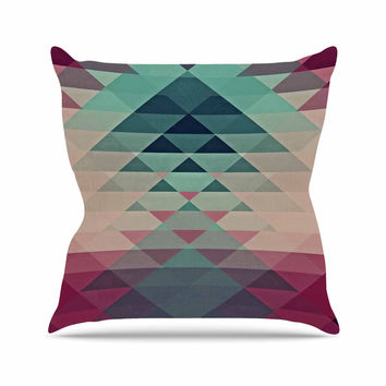 "Nika Martinez ""Hipster"" Maroon Teal Outdoor Throw Pillow"