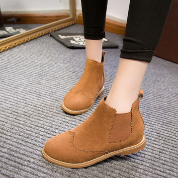 COOTELILI Autumn Winter Brand Women Suede Leather Ankle Boots Flat Heels 9 Candy Colors Oxford Shoes Woman Casual Free Shipping