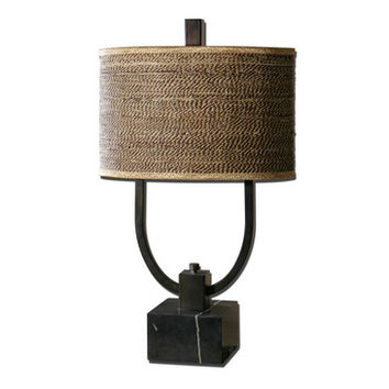 Uttermost Stabina Lamp w/ Brown & Tan Woven Rattan Shade