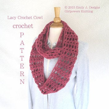 Lacy Crochet Cowl Crochet Pattern, Infinity Scarf Pattern, Quick Easy Pattern, 2 Sizes