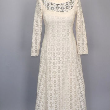 Vintage 1960s 70s Ivory White Crochet Lace Maxi Dress Wedding Gown Boho Hippie Dress Romantic Victorian Edwardian Cotton Folk Long Sleeve