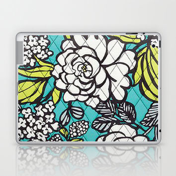 Vera Bradley - Turquoise Floral Laptop & iPad Skin by PinkBerryPatterns