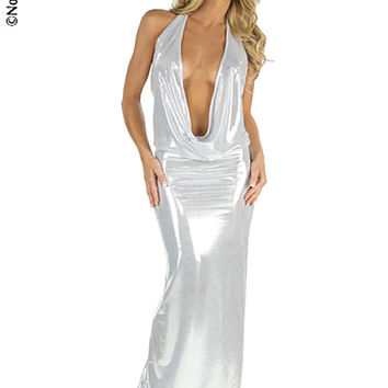 Sexy Metallic Evening Gown With Plunging Halter Neckline And Open Back