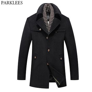 Men's Long Trench Coats 2017 Winter Wool Trench Coat Men Casual Slim Fit Mens Overcoat Pea Coat Single Breasted Windbreaker 3XL