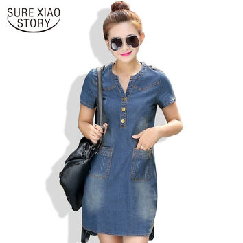 Summer Korean Denim Female Dresses with Short Sleeve Loose Casual V-neck Thin Long Dresses Women Plus Size Tops