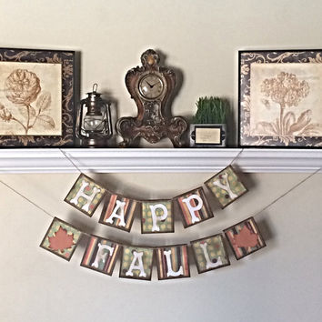 FALL DECORATION  - Happy Fall banner, Fall Banner, Fall Photo Prop, Fall Sign, Fall Garland