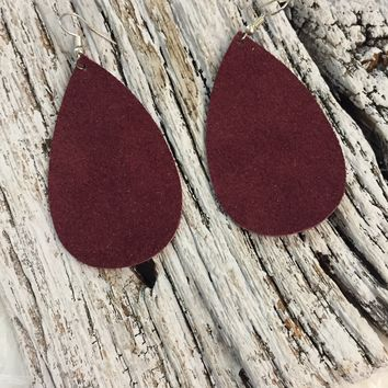 Maroon Suede Leather Earrings