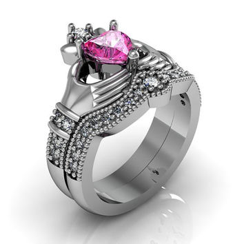 Sterling Silver Pink Topaz Claddagh  Love and  Friendship Engagement Ring Set