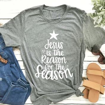 Christmas Shirt Jesus Is The Reason for The Season Christian Vintage Women Shirts Plus Size T Shirt  Graphic Tee Women Clothes