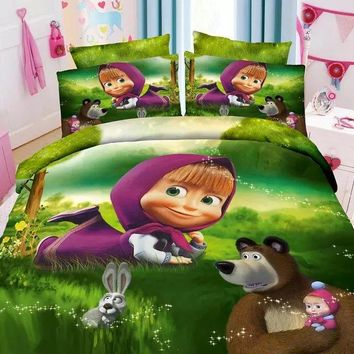 Russian cartoon Masha & The Bear bedding sets Child bedroom decor single twin size bed sheets quilt duvet covers 3pcs no filler