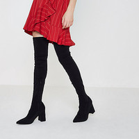 Black over the knee block heel sock boots - Boots - Shoes & Boots - women