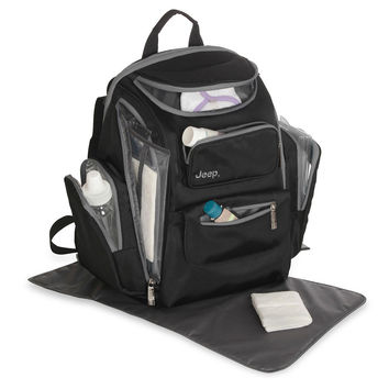 Jeep Places & Spaces Backpack Diaper Bag - Black/Gray