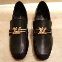 Louis Vuitton LV Women Retro Fashion Leather Loafer Shoes