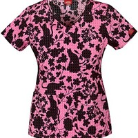 Buy Dickies Encore women's Feline Floral Jr Fit V-Neck Top for $20.95