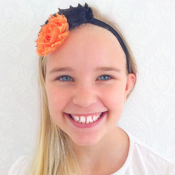 Orange, Black Baby, Child Headband, Stretchy Floral Headband, Hair Accessories Shabby Chic, Infant Headband, Newborn, Baby Gift Ideas.
