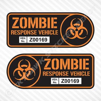 Zombie Response Vehicle Sticker Set Label Badge Vinyl Decal Walking Dead Sticker Car Truck SUV Sticker Halloween Sticker JDM Sticker