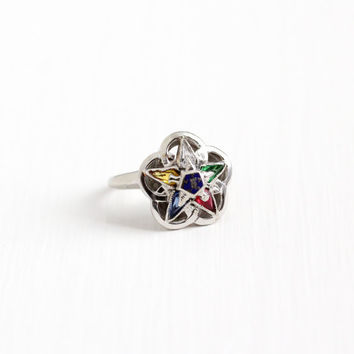 Sale - Vintage 10k White Gold Order of the Eastern Star Flower Ring - Size 5 3/4 Masonic OES Simulated Colorful Stones Fine Floral Jewelry