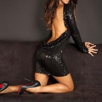 Black Little Black Dress - Sequin classic backless dress