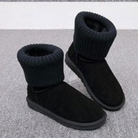 CHEN1ER UGG Fashion Plush leather boots boots in tube Boots Black