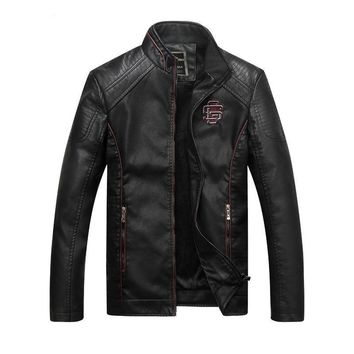 Mens Autumn Jackets And Coats Business Leisure Cotton Liner high collar Cotton leather jacket winter Clothing