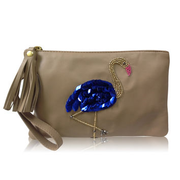 Leather Statement Clutch - Plumage 2 by VIDA VIDA