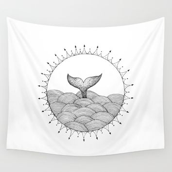 Whale in Waves Wall Tapestry by Cinema4design | Society6