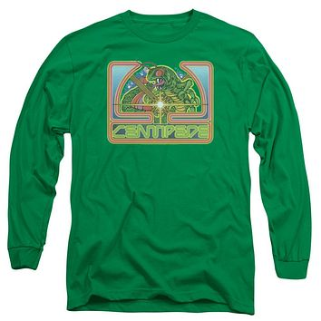 Atari Long Sleeve T-Shirt Centipede Retro Game Kelly Green Tee