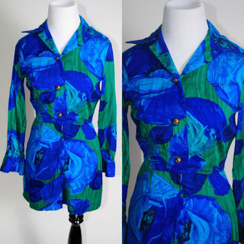 Vintage 1970s blue green Floral long sleeve button down playsuit Romper