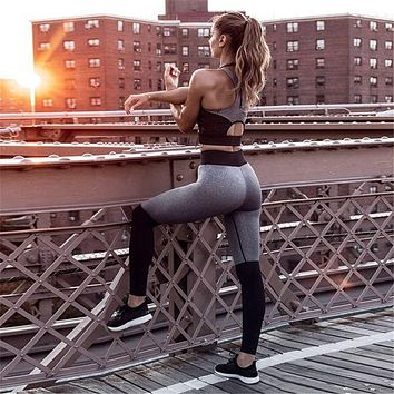 Casual Patchwork Fitness Cropped Top and Sporting Leggings Set