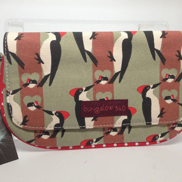Bungalow360 Vegan Wristlet New Woodpecker Design in Natural Cotton
